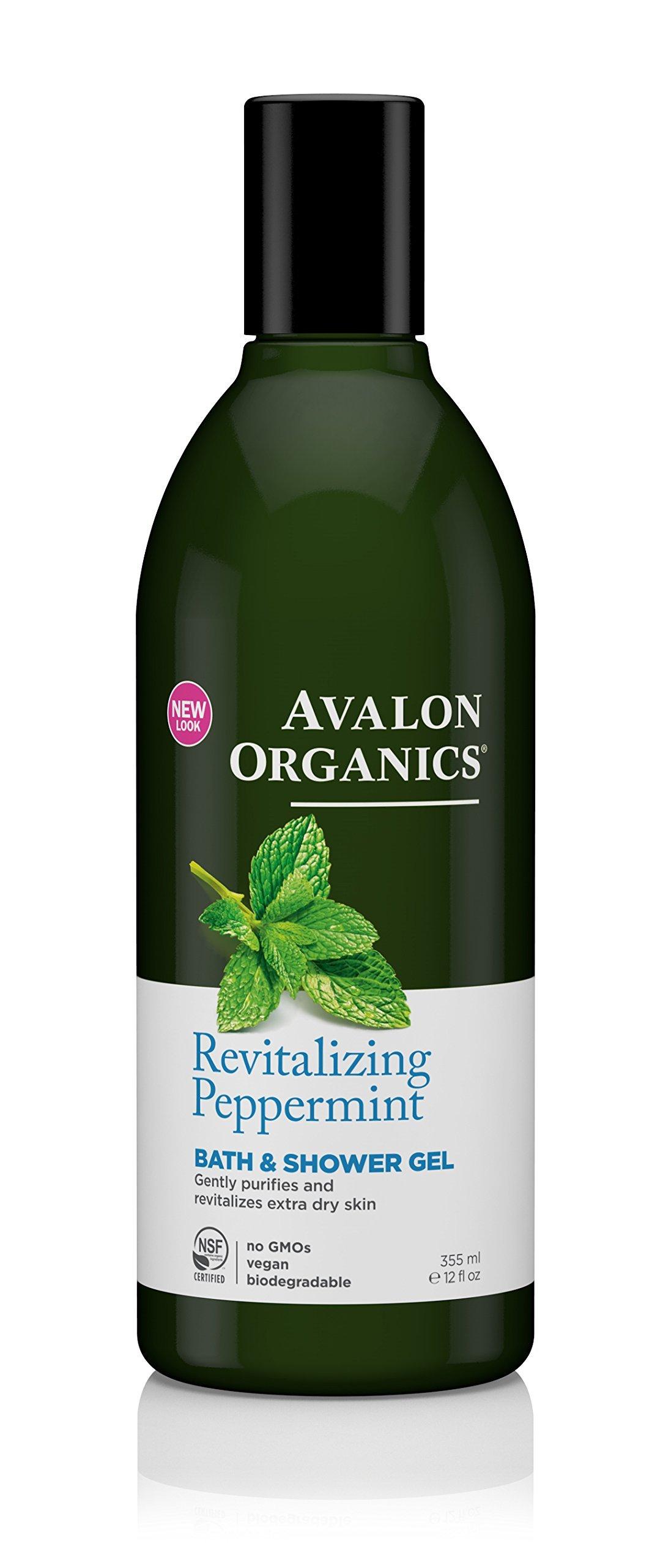 Avalon Organics Bath & Shower Gel, Revitalizing Peppermint, 12 Fluid Ounce