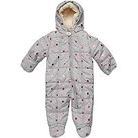DKNY Baby Girls Cozy Puffer Fully Sherpa Fur Lined Snowsuit Pram with Fur Trim Hood (Infant/Newborn)