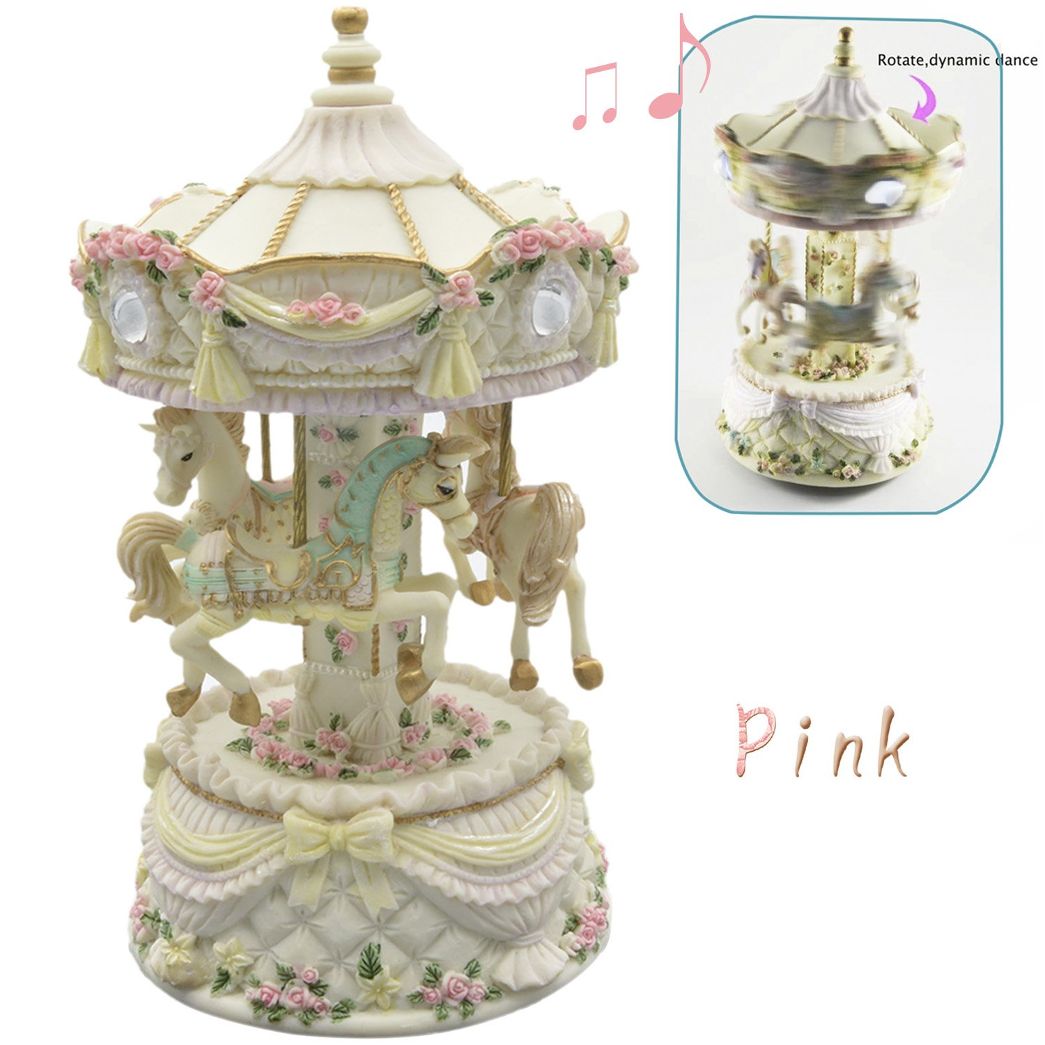 Classic Carousel Horses Rotating Music Musical Box Castle in the Sky Melody Home Decoration Children's Day Holiday Birthday Gift for Kids Children Pink Elisona