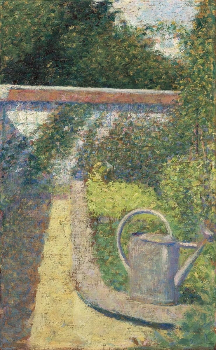 Berkin Arts Georges Seurat Giclee Print On Canvas-Famous Paintings Fine Art Poster-Reproduction Wall Decor(The Watering Can Garden at The Raincy) Large Size 24.1 x 39inches