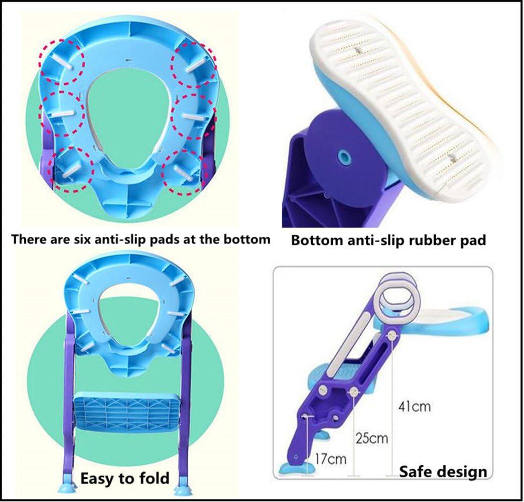 Asiento Inodoro Reductor Infantil como Protector Compacto y Port/átil para Viajes Orinal de Beb/é con Dibujos Rosa Emwel Tapa WC Plegable para Ni/ños