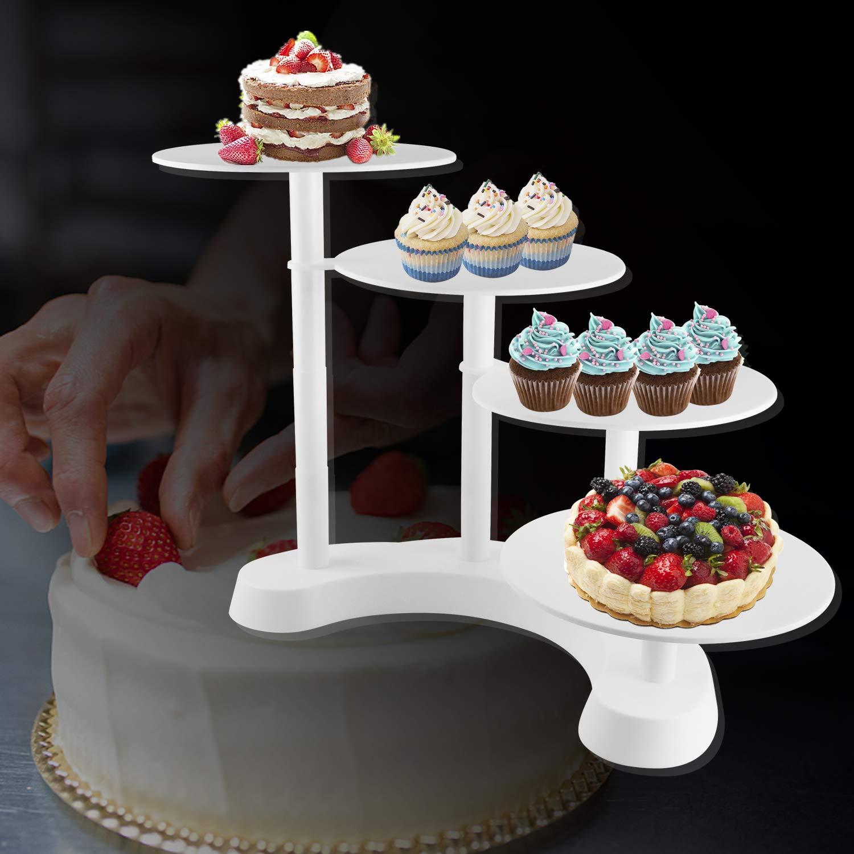 Cake Stand de 4 Pisos Fiesta de Cumplea/ños del Banquete Blanco Pastel Seguro Comida Blanca Escaleras de Pl/ástico Altura Unos 15 cm 25 cm,35cm,45cm