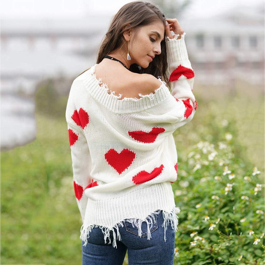 iCJJL Womens Cute Heart Print Sweatshirt Casual Ripped Distressed Long Sleeve V Neck Tassel Waffle Knit Pullover Sweater