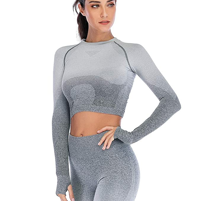 huge discount 01e8c d96dc LMMET Maglie Donna Sportive Maniche Lunghe,Canotte Yoga,T ...