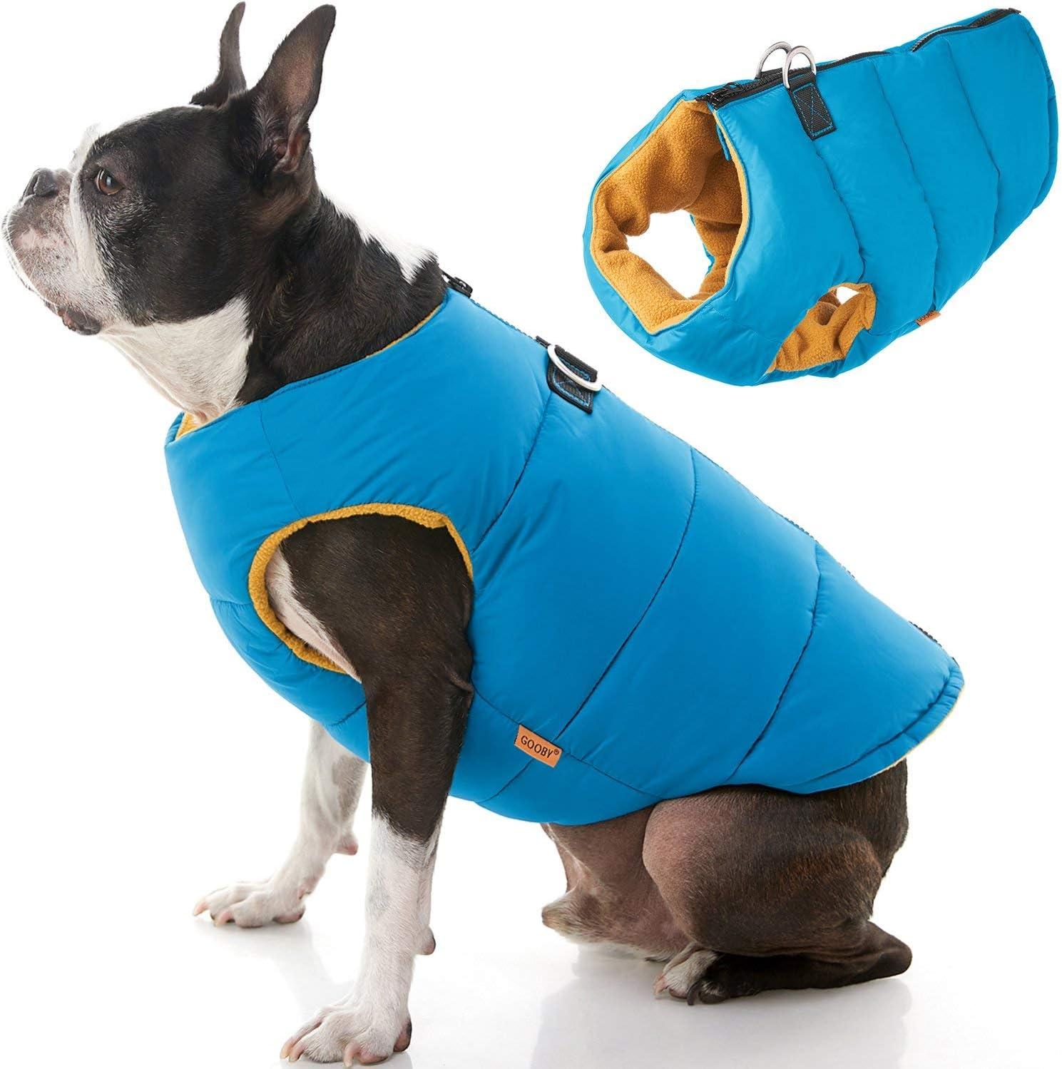 GOOBY Acolchado frío Chaleco para Perros con Seguro Guardia de Piel Cierre de Cremallera,