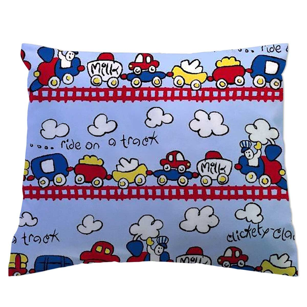 SheetWorld Crib/Toddler Percale Baby Pillow Case - Fun Train Tracks - Made In USA