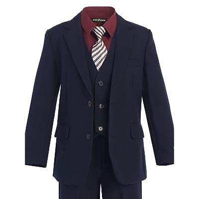 Bello Giovane Boys Navy Formal Dress Slim Suit Set with Burgundy Shirt