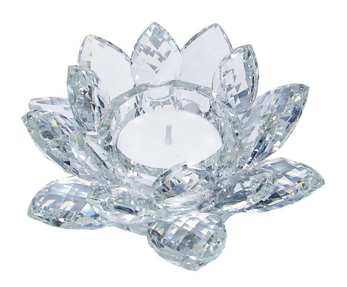 All_In_All Shabby Chic Gift Crystal Lotus Flower Candle Tea Light Holder