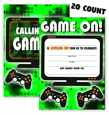 Amazon Com Pop Parties Gaming Green Party Invitations 20
