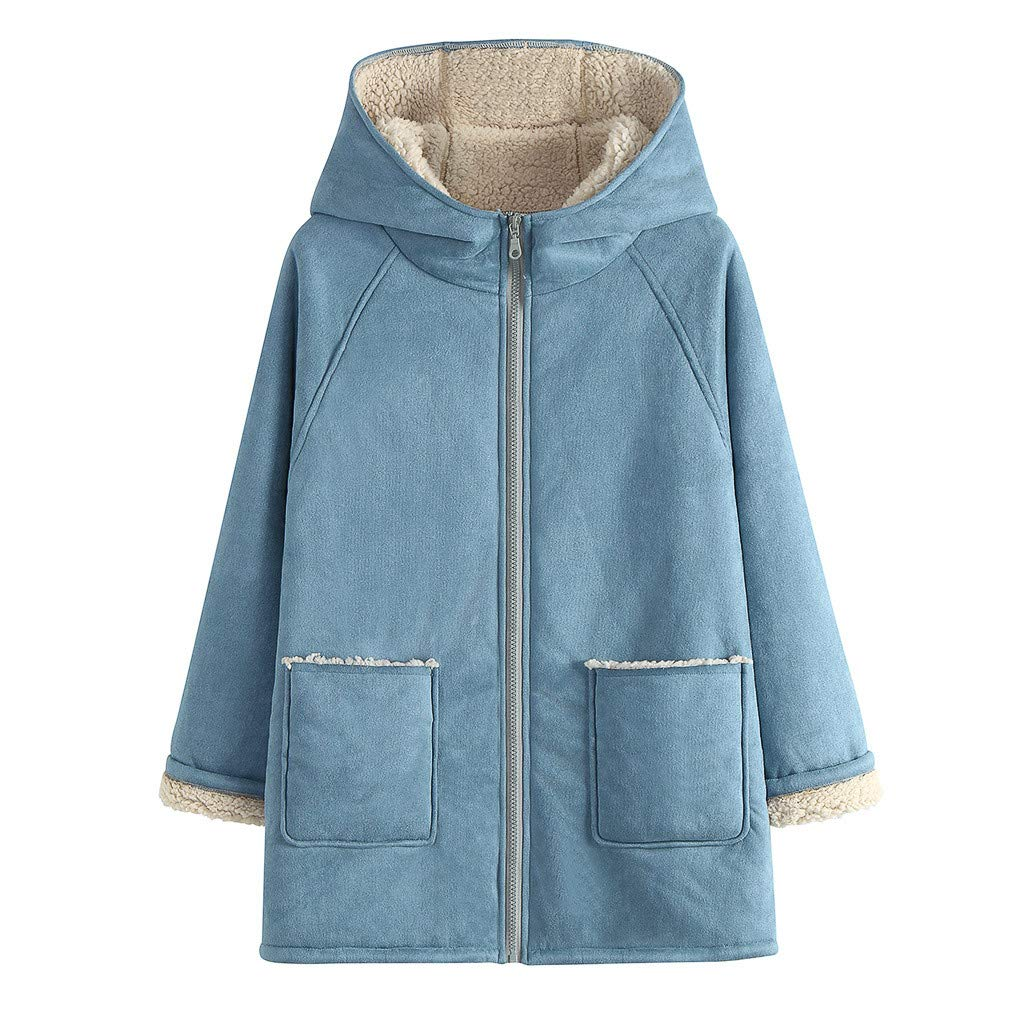 Lataw Women Coat Outerwear Fashion Solid Autumn and Winter Warm Collar Long Sleeves Plush Thicken with Hat Jacket Clothes by Lataw