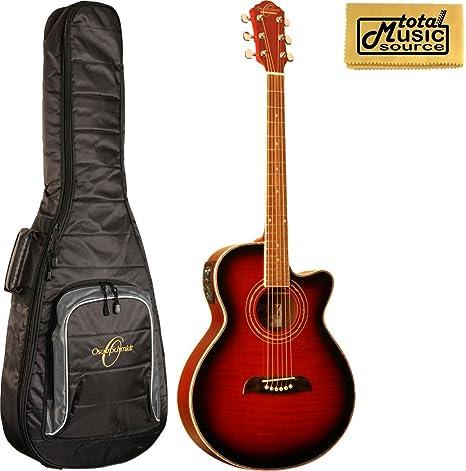 Oscar Schmidt a/E Concierto, guitarra Folk, color rojo fuego og10ceftr, W