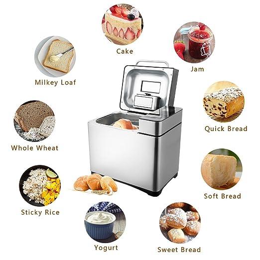 Lonlier Panificadora Acero Inoxidable 19 Programas Máquina de Pan Multifuncional 710W Capacidad 1 kg: Amazon.es: Ropa y accesorios