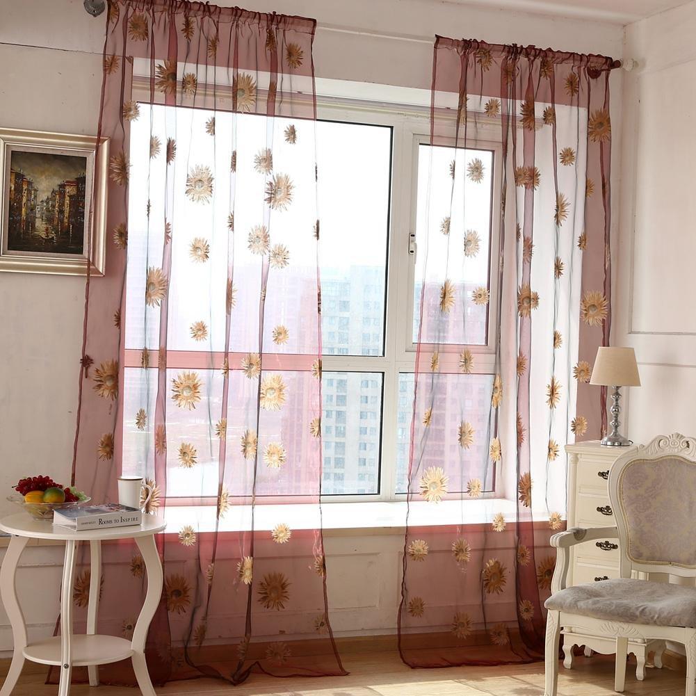 Domybest Sunflower Window Curtain, Door Kitchen Bathroom Window Curtain 1m x 2m Blue