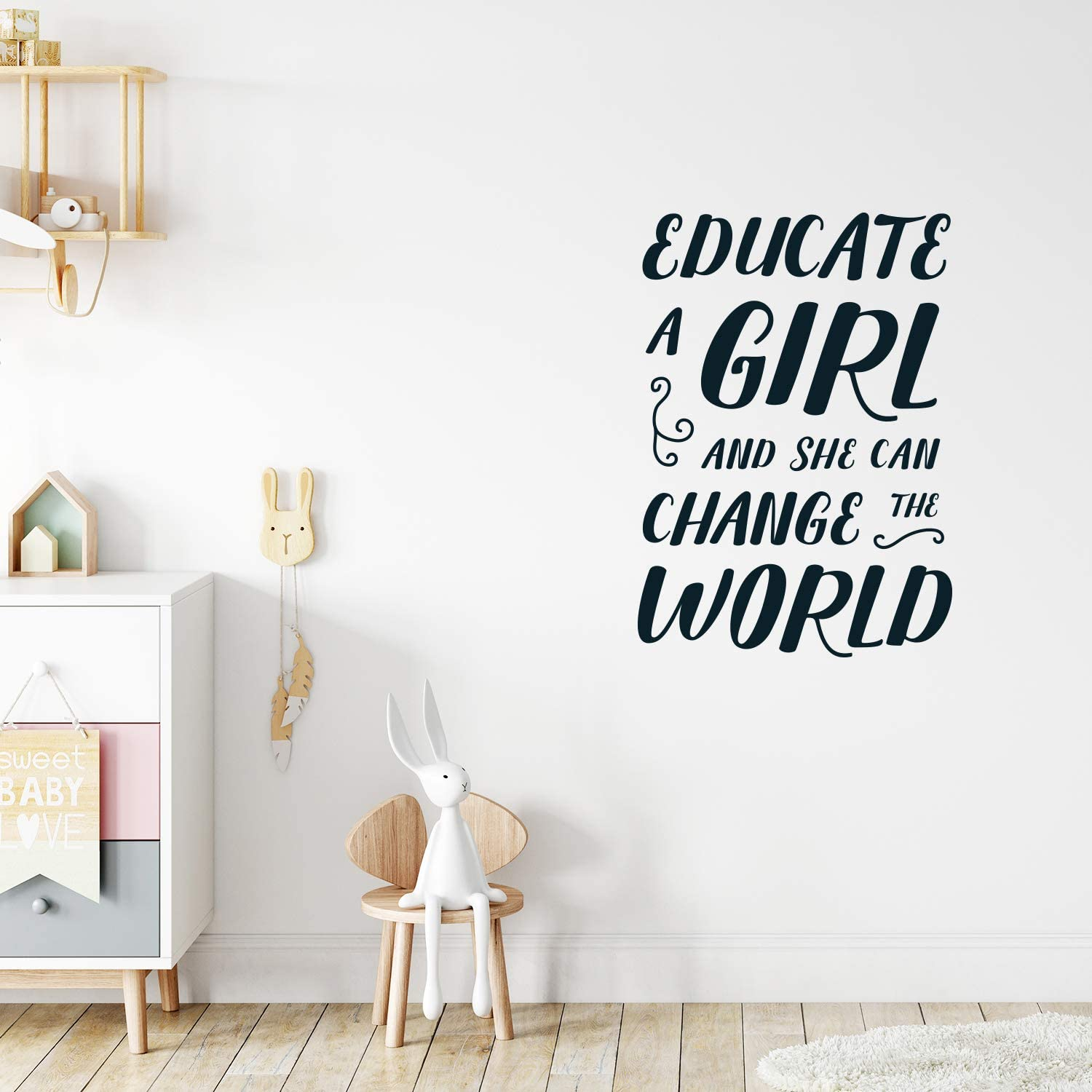 "Vinyl Wall Art Decal - Educate A Girl and She Can Change The World - 33"" x 23"" - Teen Girl Bedroom Little Girls Nursery Wall Decor Sticker Decals- Women's Empowerement Motivational Quote Sayings"