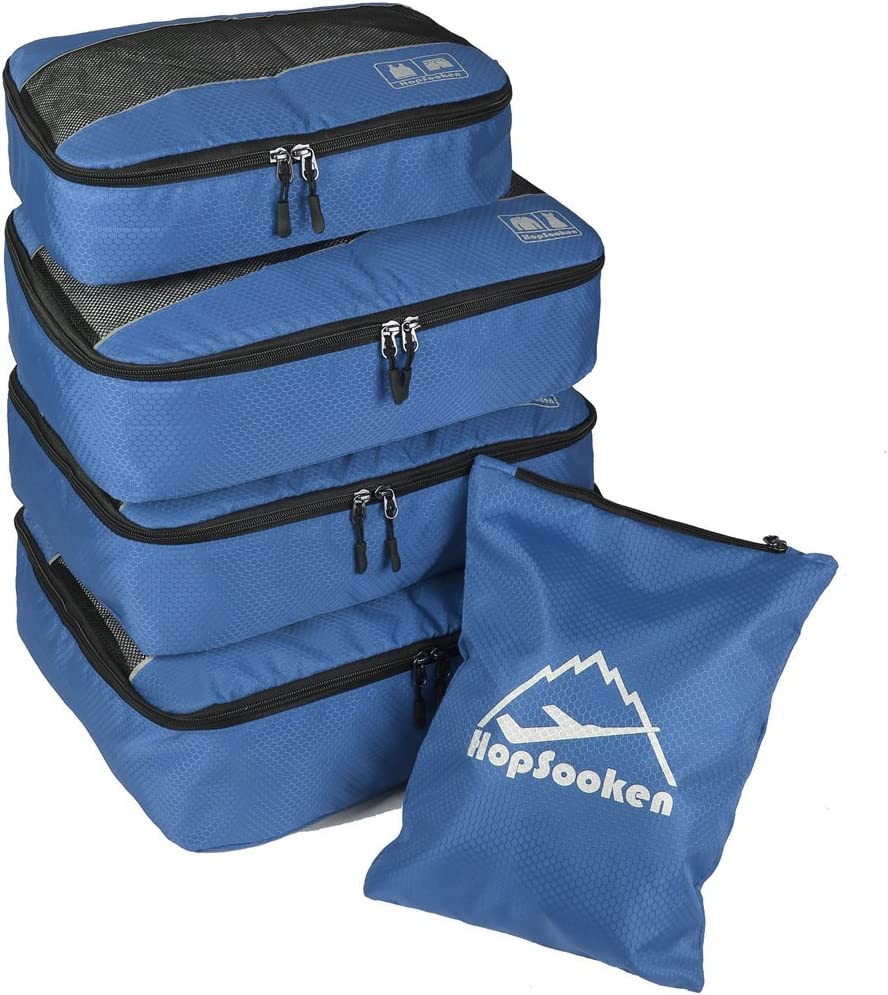 5pc Packing Cubes Set Large Travel Luggage Organizer 4 Cubes 1 Laundry Pouch Bag (Darkblue)