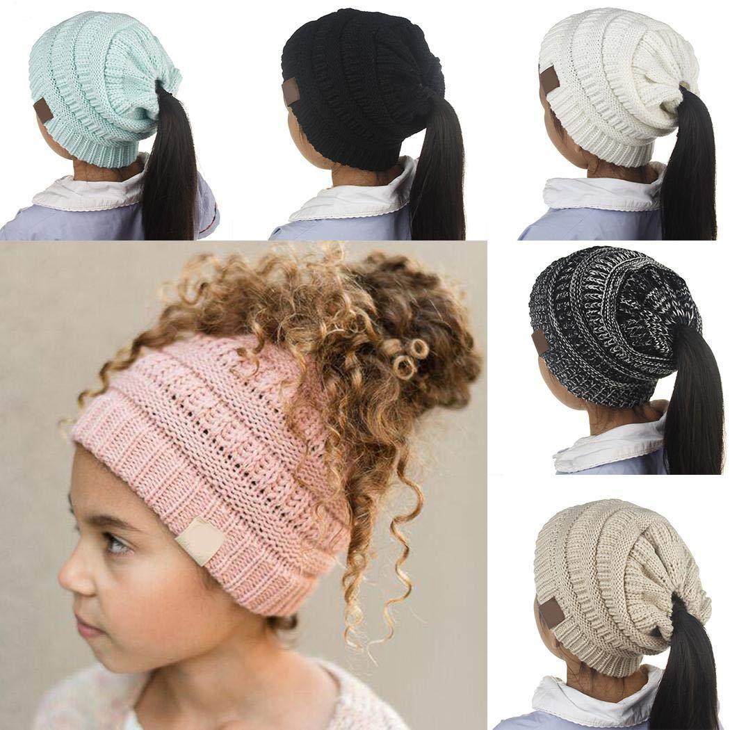 MAMOIU Winter Children Outdoor Ponytail Hair Knitted Cap Warm Cute Wool Beanie Hat Skullies /& Beanies