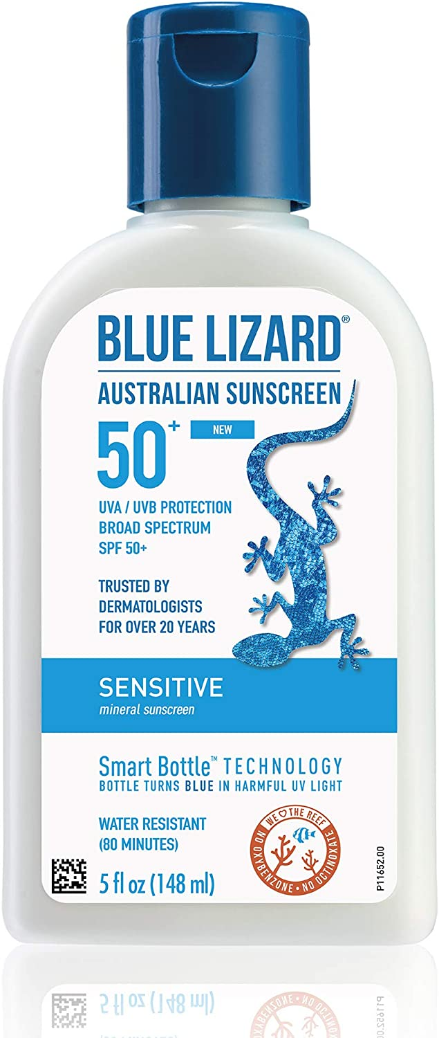 Blue Lizard Sensitive Mineral Sunscreen - No Chemical Actives - SPF 50+ UVA/UVB Protection, 5 Ounce Bottle