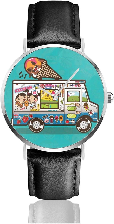 Relojes Anolog Negocio Cuarzo Cuero de PU Amable Relojes de Pulsera Wrist Watches Helado de Coche