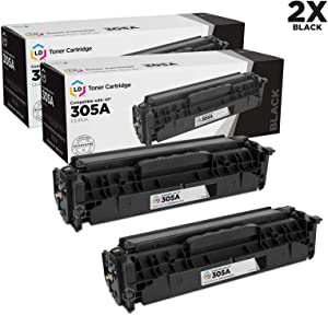 LD Remanufactured Toner Cartridge Replacement for HP 305A CE410A (Black, 2-Pack)