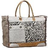 Myra Bag Hide & Floral Upcycled Canvas Weekender Bag S-1199