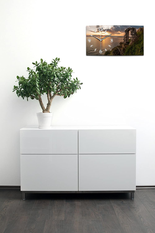 Landschaft Landschaft Landschaft Küste See XXL Designer leise Funk Wanduhr Funkuhr modernes Design  Made in Germany WA001FL (80x40cm) d4456a