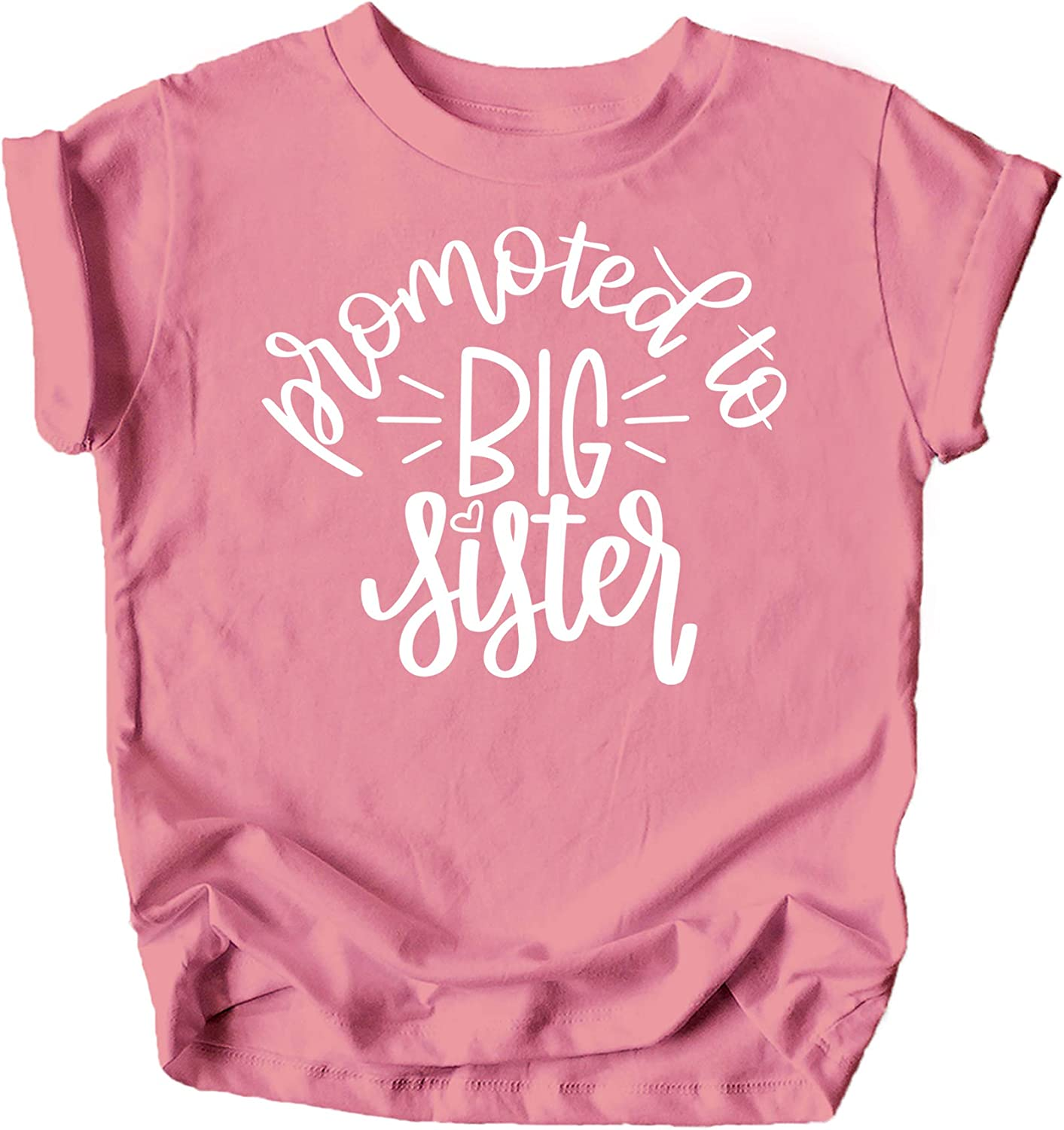 Olive Loves Apple Promoted to Big Sister Colorful Announcement T-Shirt for Baby and Toddler Girls Sibling Outfits