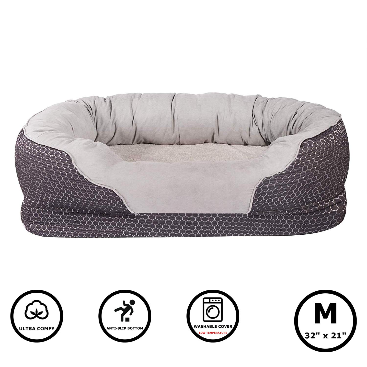 Pet Deluxe Dog and Puppy Bed, Grooved Orthopedic Foam Beds with Removable Washable Cover, Ultra Comfort, Padded Rim Cushion, Nonslip Bottom, for Dogs / Puppies - Dark Blue 32''x 21''