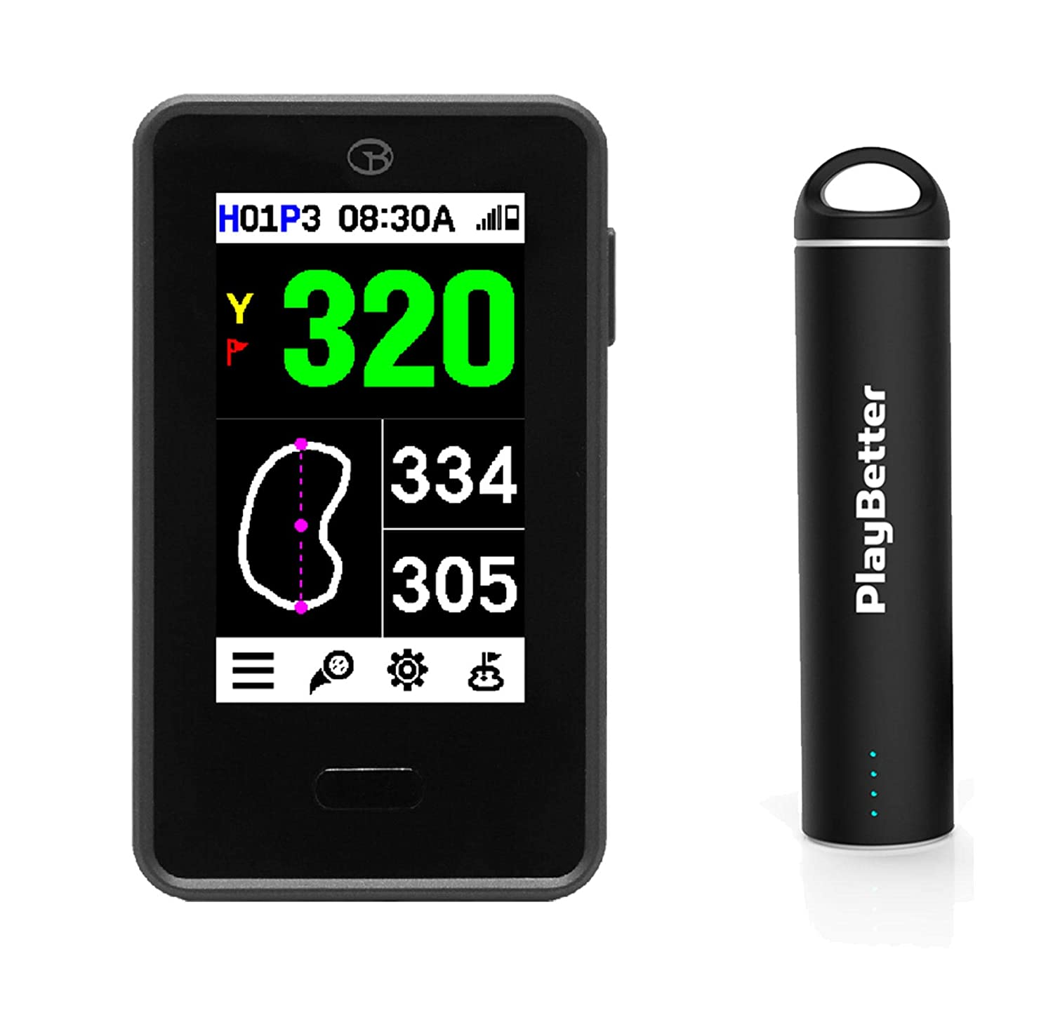 Golf Buddy VTX Handheld Golf GPS with Voice | Power Bundle with PlayBetter  Portable USB Charger (2200mAh) | Most Advanced Talking GPS, Full-Color