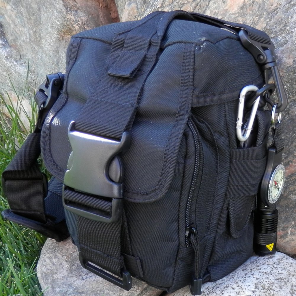 PREPPER'S FAVORITE: Emergency Get Home Bag with First Aid Kit, Water Filter, Food, Fire, Tools and Shelter. Ideal Compact Bug Out Bag, Earthquake Kit, EDC or 72 Hr Kit. Tactical Shoulder Bag Model by Prepper's Favorite (Image #7)