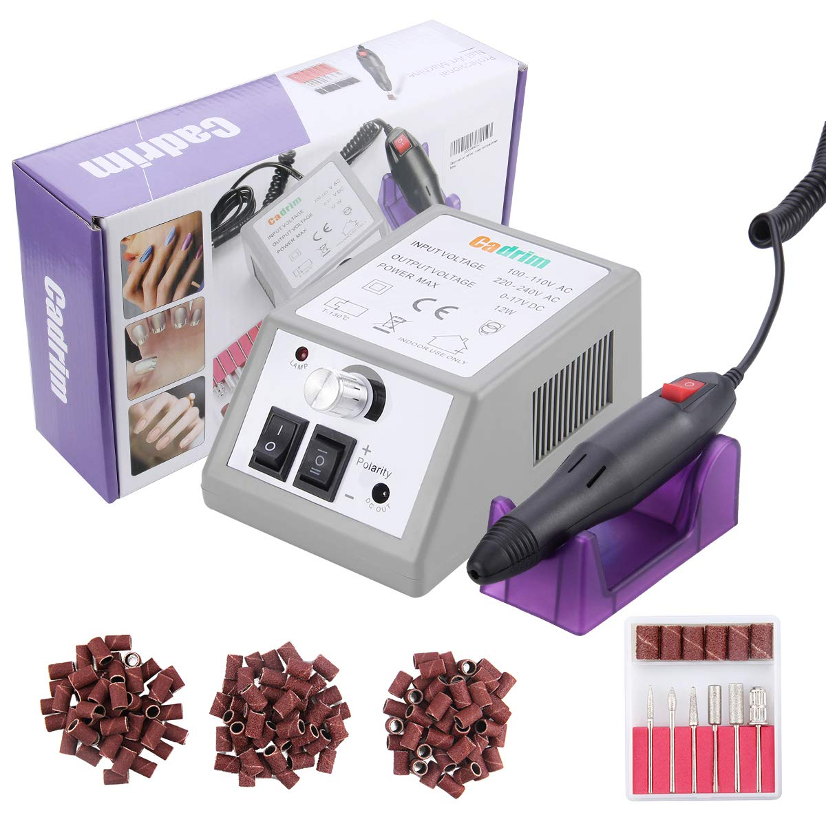 Cadrim Nail Drill Machine Electric Nail File Manicure Pedicure Drill with Nail Drill Bits Kits for Acrylic Nails (20, 000 RPM)