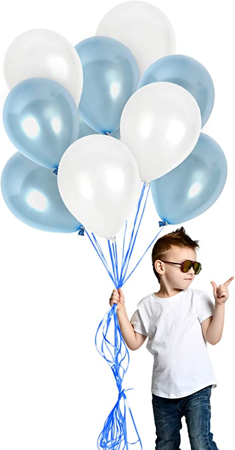 Baby Boy 1st birthday Bridal Shower Jumbo Pearl Blue Balloon with tail Pearl Light Blue 30 Balloon with Blue and White Balloon Tail Twirlz