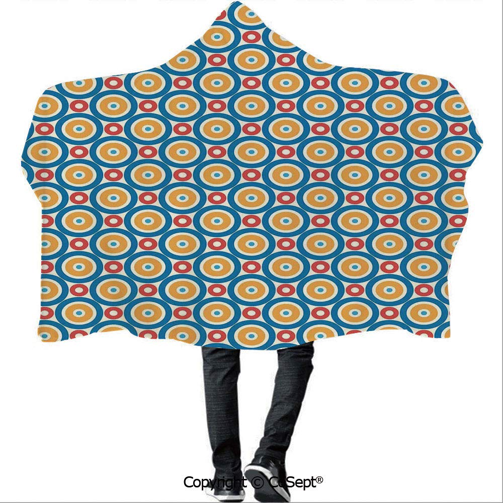 Hooded Blankets,Big and Small Circles with Dots Colored Symmetrical Tile Pattern,Unisex All Ages One Size Fits All(59.05x78.74 inch),Blue Marigold Scarlet
