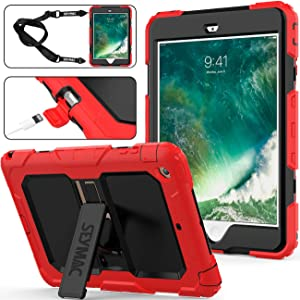 SEYMAC stock Case for iPad Mini 1/2/3 Case, 3 Layers Shock-Proof Case with [Portable Shoulder Strap] & [Built-in Kickstand] Compatible with iPad Mini 1st/ 2nd/ 3rd Generation (Red/Black)