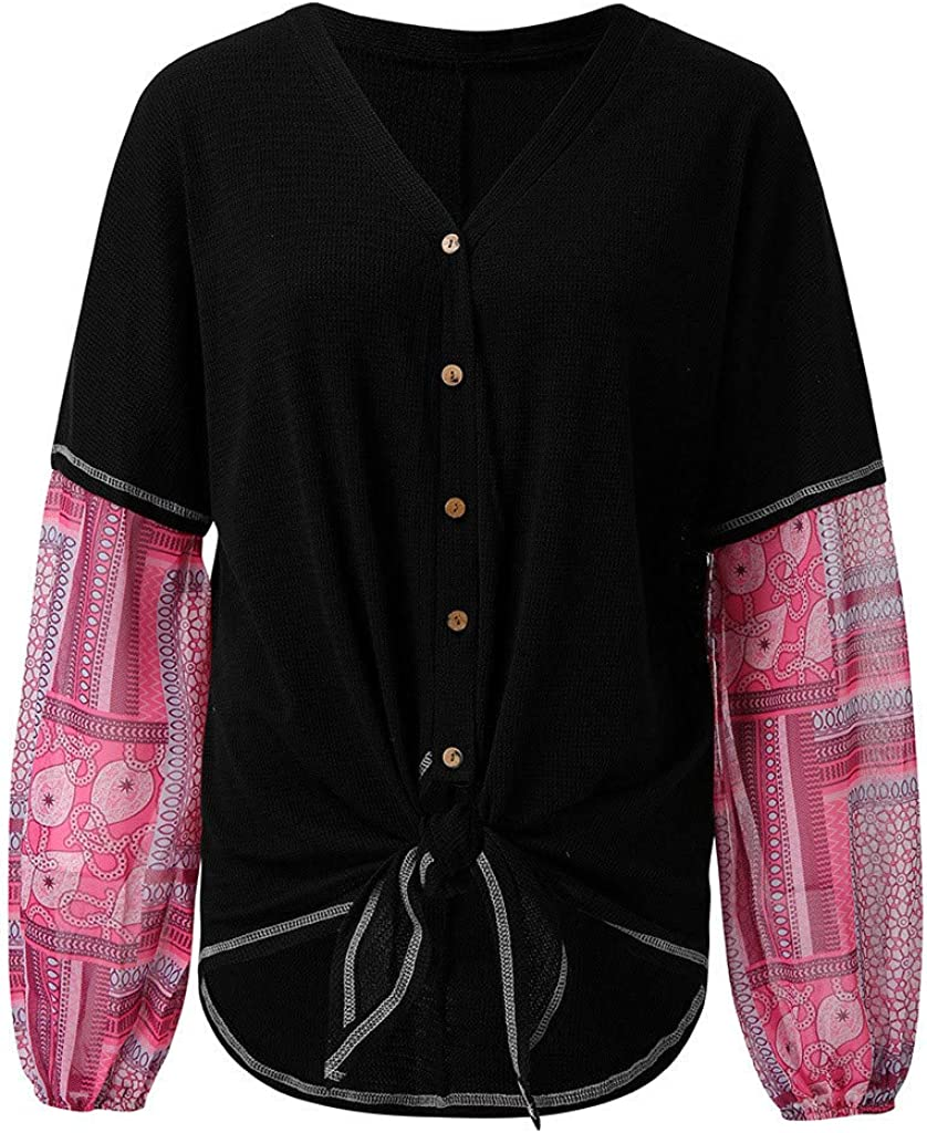 ✦HebeTop✦ Womens Print Patchwork Long Sleeve Crew Neck T Shirt Casual Blouse Tops