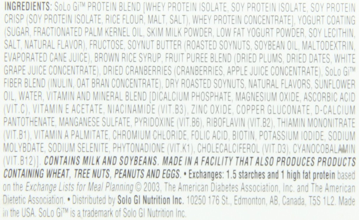 SoLo Gi Energy Bar Lemon Lift Gluten Free Low Glycemic with 10 grams of Protein, 1.76oz (50g) (1 Box of 12 Bars) by SoLo Gi (Image #4)
