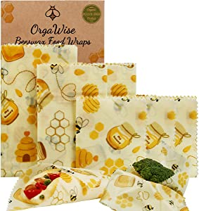 OrgaWise Beeswax Reusable Food Wraps,6Pack Organic Natural Food Cloth Papers,Bee Pattern Washable Eco Friendly Plastic FreeCheese Cover Sandwich Wrapper for Vegetable and Bread