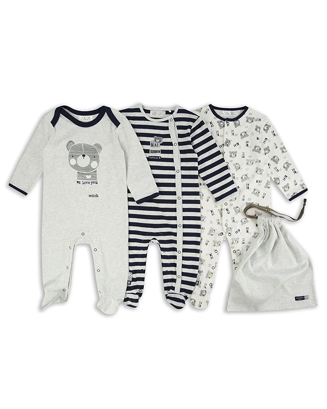 The Essential One - Baby Boys Beary Much Sleepsuits Babygrows - 3 Pack - Blue/Grey / White - ESS181