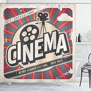 Ambesonne Vintage Shower Curtain, Retro Cinema Movie Vintage Paper Texture Hollywood Stars Theme Image Print, Cloth Fabric Bathroom Decor Set with Hooks, 84