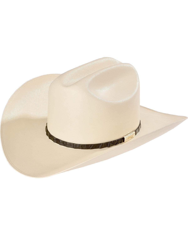 Larry Mahan Men's 100X Cien Ivory Woven Cowboy Hat Black 7 3/8