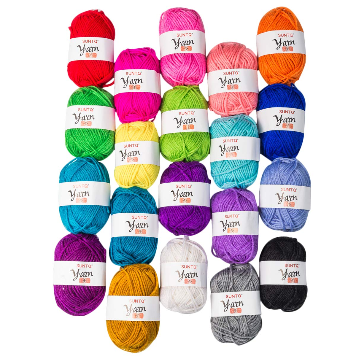 SUNTQ 100% Acrylic Yarn 20 Assorted Colors Skeins Bonbons Yarn for Crochet & Knitting Assorted Rainbow Variety Colored Assortment,0.35oz per Roll,7oz per Package 4336926362