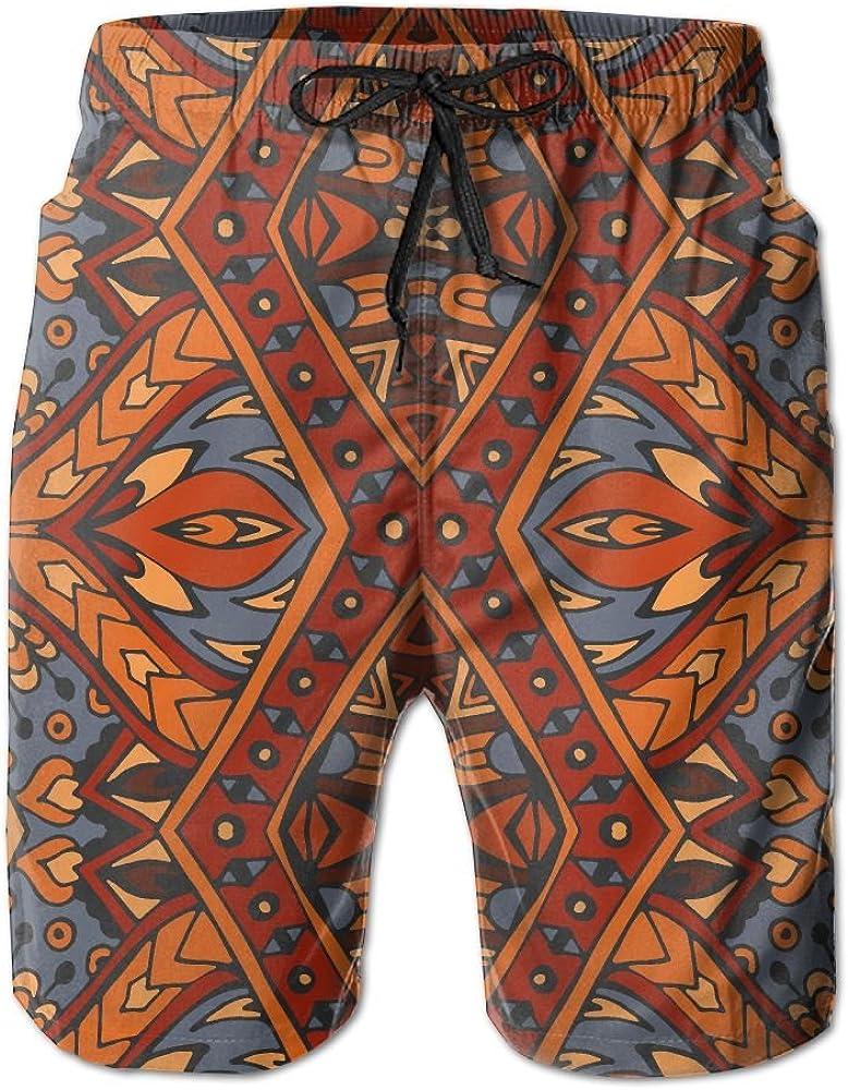 LUASD Mens Tribal Ethnic Seamless Quick Drying Moisture Perspiration Short Pants Swim Trunks