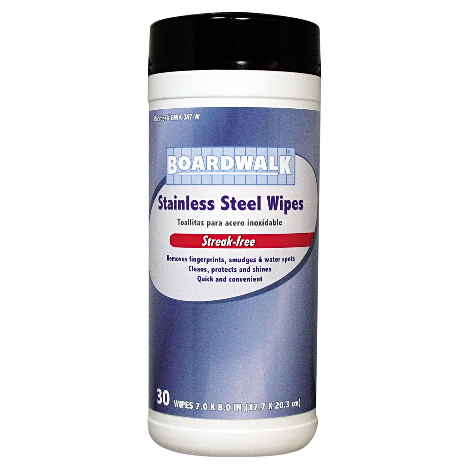Boardwalk 347-W Stainless Steel Wipes, 8'' Length by 7'' Width (12 Canisters of 30)