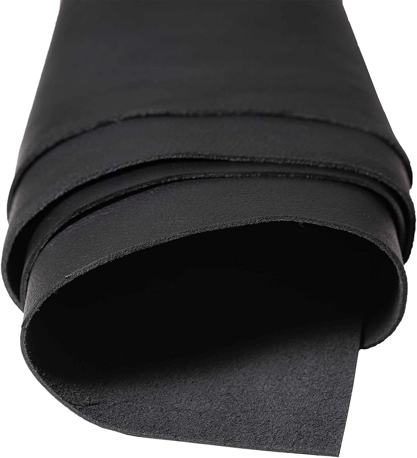 """DiLoro Full Grain Leather Cowhide Fabric Material Sheet Hides One Piece Black Skins (Black, 12""""x24"""")"""