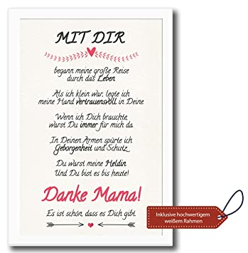Danke Mama Bild Mit Rahmen Geburtstags Geschenk Fur Deine Mutti Dankeschon Fur Die Beste Mutter Geschenkidee Zum Geburtstag Muttertag
