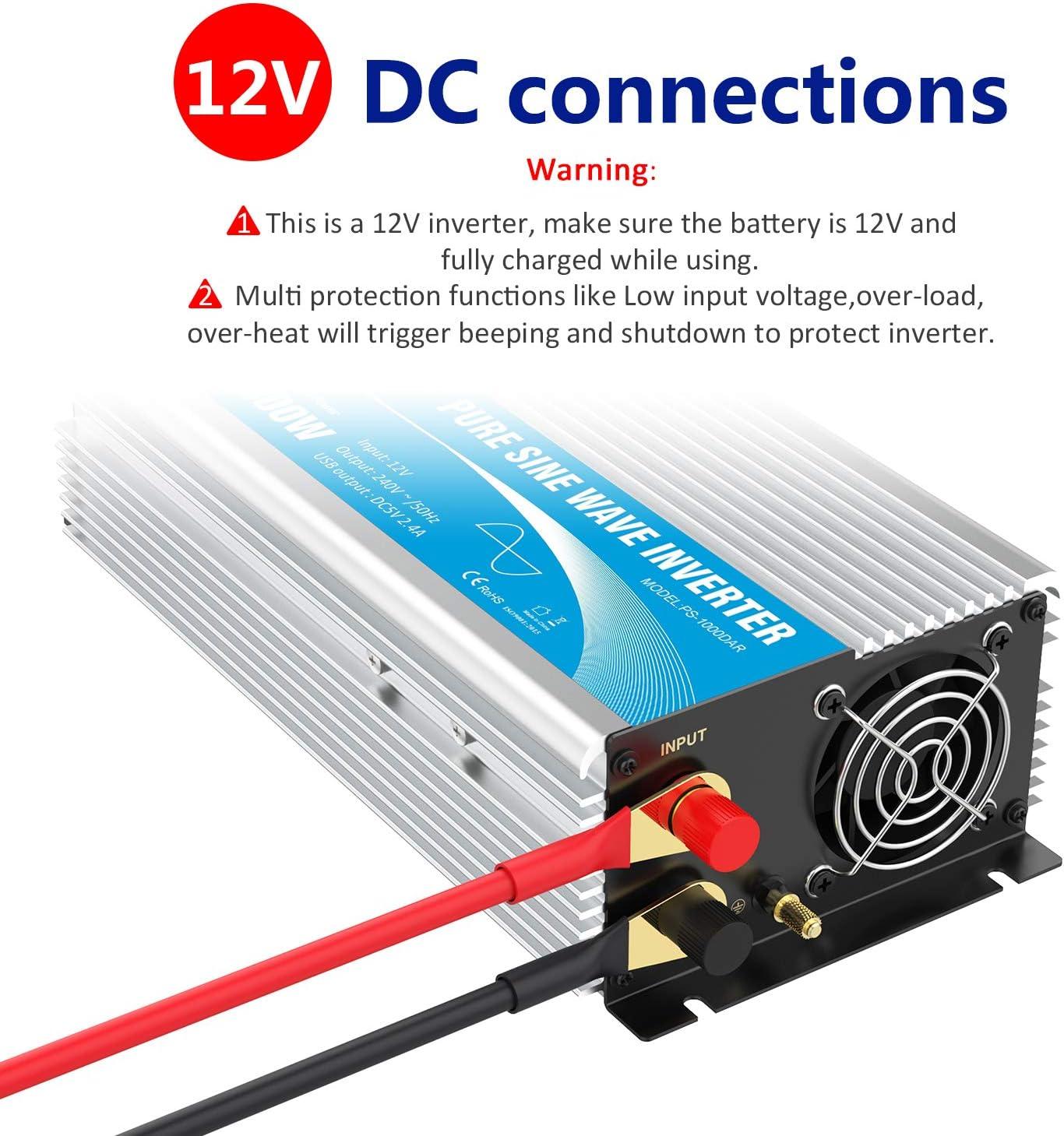 Giandel Pure Sine Wave Power Inverter 1000w Dc 12v To Amazon Co Uk Electronics