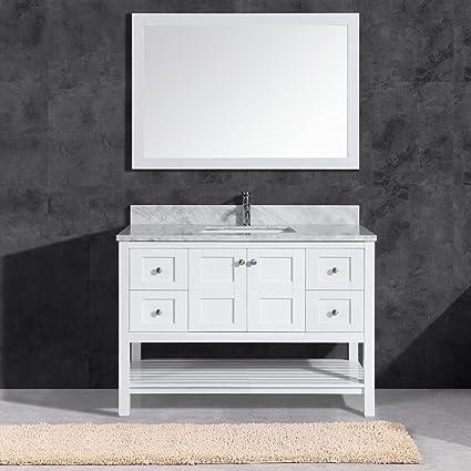 48 vanity mirror 42 inch woodbridgebath sydney 4821 top woodbridge solid wood set carra marble rectangle bowl color 4821
