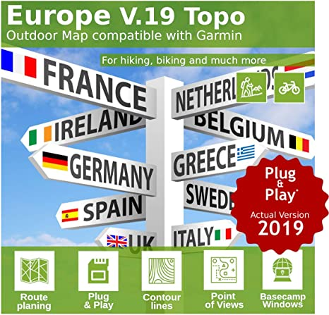 Topo MicroSD carte topographique Europe pour GARMIN Pour Randonnée Cyclisme Biken