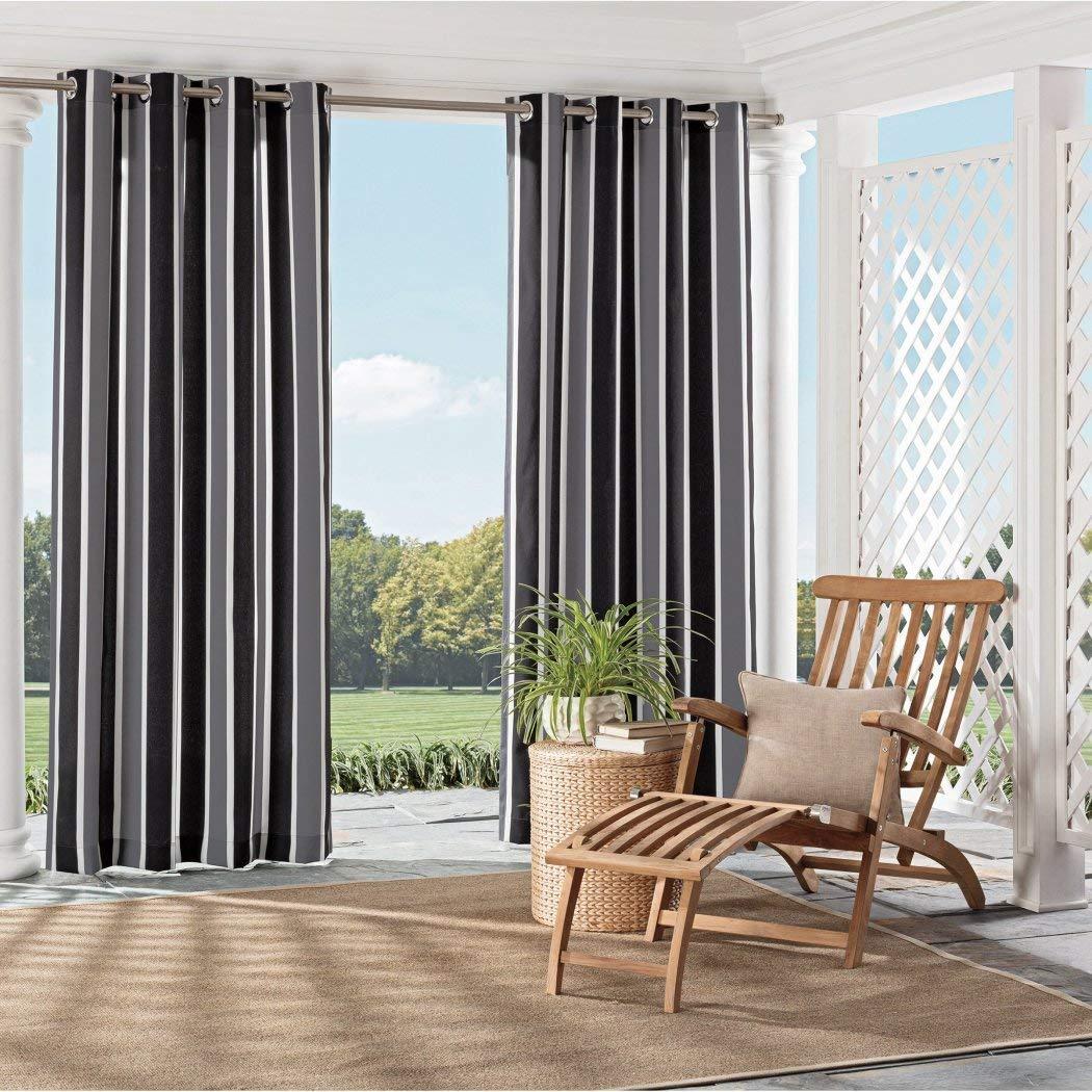 1 pieza 95 cm Negro Rayas laterales cortina Panel único, negro ...