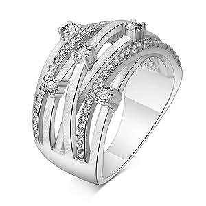 Adan Banfi Women Rhodium-Plated Brass Rings Round Solitaire Proposal Statement Ring