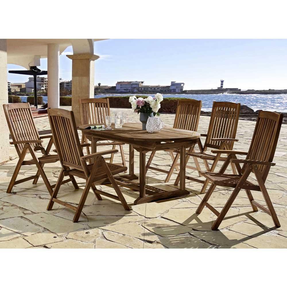 Gartentischgruppe aus Teak Massivholz mit ausziehbarem Tisch (7-teilig) Pharao24